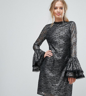 Little Mistress Metallic Cutwork Lace Swing Dress With Fluted Sleeve Detail-Silver