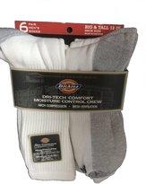Dickies Men's Dri-Tech Comfort Moisture Control Crew Socks 6 Pair Big & Tall