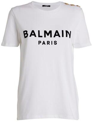 Balmain Button-Detail Flocked Logo T-Shirt