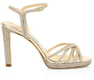 Jimmy Choo Lilah Dusty Glitter Platform Sandals