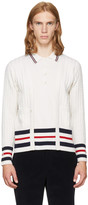 Thom Browne White Cricket Stripe Trompe L'Oeil V-Neck Cardigan Polo