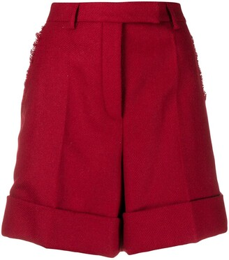 Thom Browne high waist shorts with fray in Shetland wool