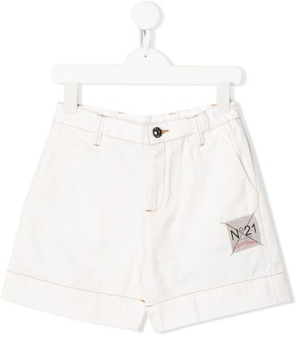 No.21 Kids contrast stitched shorts