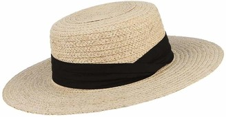 giyiohok Womens UPF 50+ Summer Straw Hat Flat Top Straw Boater Panama Hat Wide Brim Raffia Beach Sun Hat with Ribbon Band-Black_58cm/22.83inch