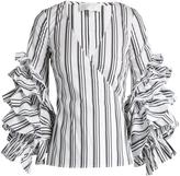 Caroline Constas Athena striped ruffled-sleeve blouse