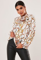 Missguided White Chain Print Satin Tie Front Blouse