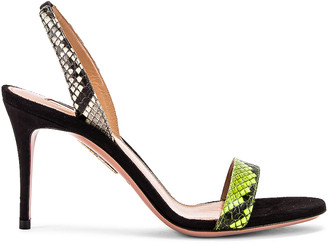 Aquazzura So Nude 85 Sandal in Acid Green, Shiny Roccia & Black | FWRD