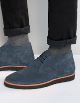 Dune Chukka Boots In Blue Suede