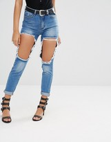Missguided Riot High Rise Open Thigh Slim Leg Jeans