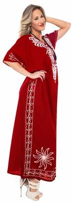 LA LEELA Boho Women Rayon Embroidered Tunic Caftan Kimono Oversized Long Maxi Loungewear Nightwear Everyday Beach Cover UP Plus Size Kaftan Blood Red_L363