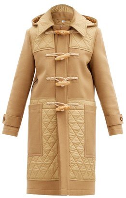 Burberry Quilted-panel Wool-blend Duffle Coat - Camel