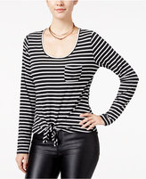 Rebellious One Juniors' Striped Tie-Front Top