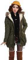 Win8Fong Womens' Warm Hooded Military Green Faux Fur Long Trench Coat Parka Overcoat