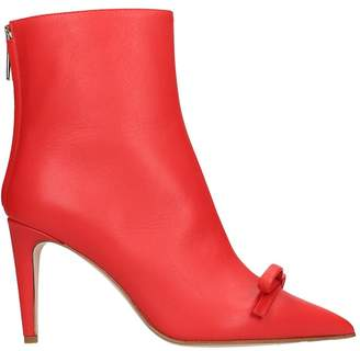 RED Valentino High Heels Ankle Boots In Red Leather