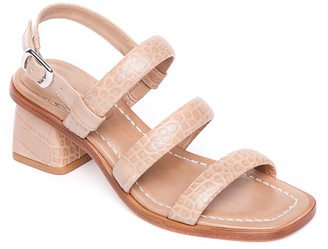 Bernardo Leather Mid-Heel Adjustable Sandals -Britney