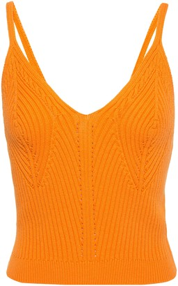 Sandro Ximin Pointelle-trimmed Ribbed Stretch-cotton Camisole