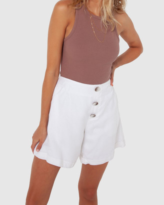 Madison The Label - Women's White High-Waisted - Charlotte Shorts - Size One Size, 8 at The Iconic