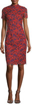Trina Turk Flashy Short-Sleeve Floral Lace Sheath Dress