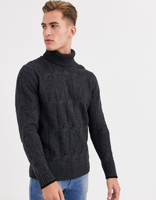 Selected chunky wool roll neck knitted jumper in grey
