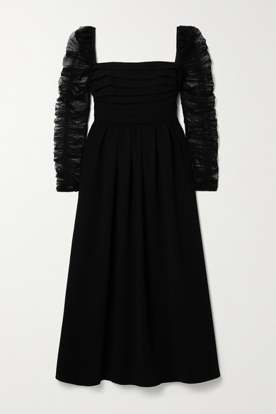 Self-Portrait Pleated Crepe And Ruched Polka-dot Flocked Tulle Midi Dress - Black