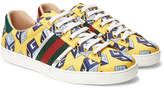 Gucci Ace Metallic Leather-trimmed Printed Satin Sneakers