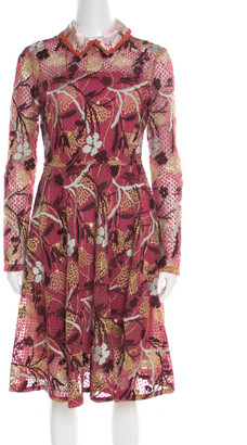 Valentino Multicolor Floral Embroidered Tulle Lurex Detail Long Sleeve Dress S