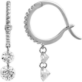 Raphaele Canot Set Free Mini Hoop Earrings Double Diamond - White Gold