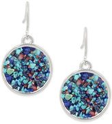 Kenneth Cole New York Silver-Tone Blue Stone Drop Earrings