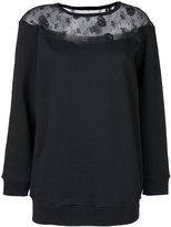 RED Valentino lace trim top - women - Cotton/Polyamide/Polyester - S