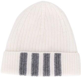Thom Browne Stripe Detail Ribbed Hat