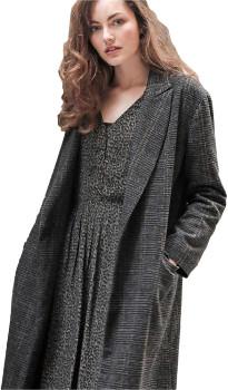 Louizon - Long Black & Old Pink Wool Coat - Size 0 - Black/Grey