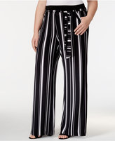 INC International Concepts Plus Size Striped Knit Wide-Leg Pants, Created for Macy's