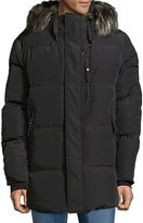 Andrew Marc Men's Glasnevin Faux Fur-Trimmed Puffer Jacket - Dark Grey, Size x-large