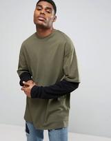 Asos Oversized Longline Long Sleeve T-Shirt With Double Sleeve In Khaki/Black