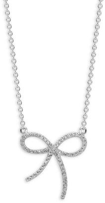 Effy 14K White Gold Diamond Bow Pendant Necklace