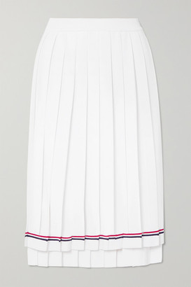Thom Browne Pleated Striped Stretch-knit Skirt - White