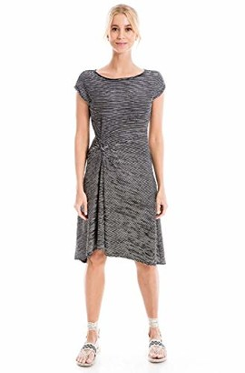 Max Studio Women's Stripe Textured Knit Cap Sleeve Asymmetrical Dress