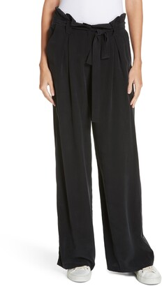 L'Agence Bobby Paperbag Waist Wide Leg Silk Pants