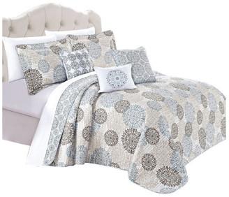 Serenta Marina Medallion Quilted 6 Piece Bed Spread Set, Granite, Quee