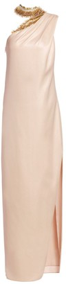 Halston Embellished Neck Asymmetric Metallic Gown
