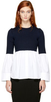 Kenzo White & Navy Layered Shirt Sweater