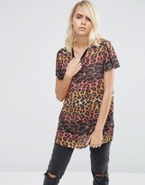 Asos T-Shirt in Ombre Leopard with Piping Detail