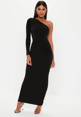 Missguided Black One Shoulder Slinky Bodycon Ruched Midaxi Dress