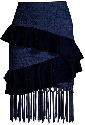 PatBO Velvet & Lace Fringed Mini Skirt