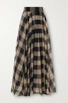 Akris Checked Mulberry Silk-organza Jacquard Maxi Skirt - Black
