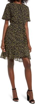 Sam Edelman Ditsy Puff Sleeve Ruched Dress