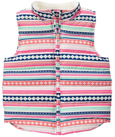 Pink & Mint Fair Isle Sherpa-Collar Vest - Girls