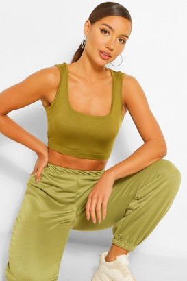 boohoo Thick Strap Square Neck Crop Top