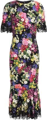 Dolce & Gabbana Embellished Silk-blend Charmeuse Midi Dress