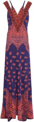 Roberto Cavalli Cutout Embroidered Jacquard-knit Gown